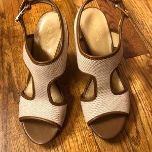 Michael Kors t strap wedge sandal size 7